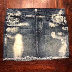 7 for all Mankind distressed bleached denim skirt